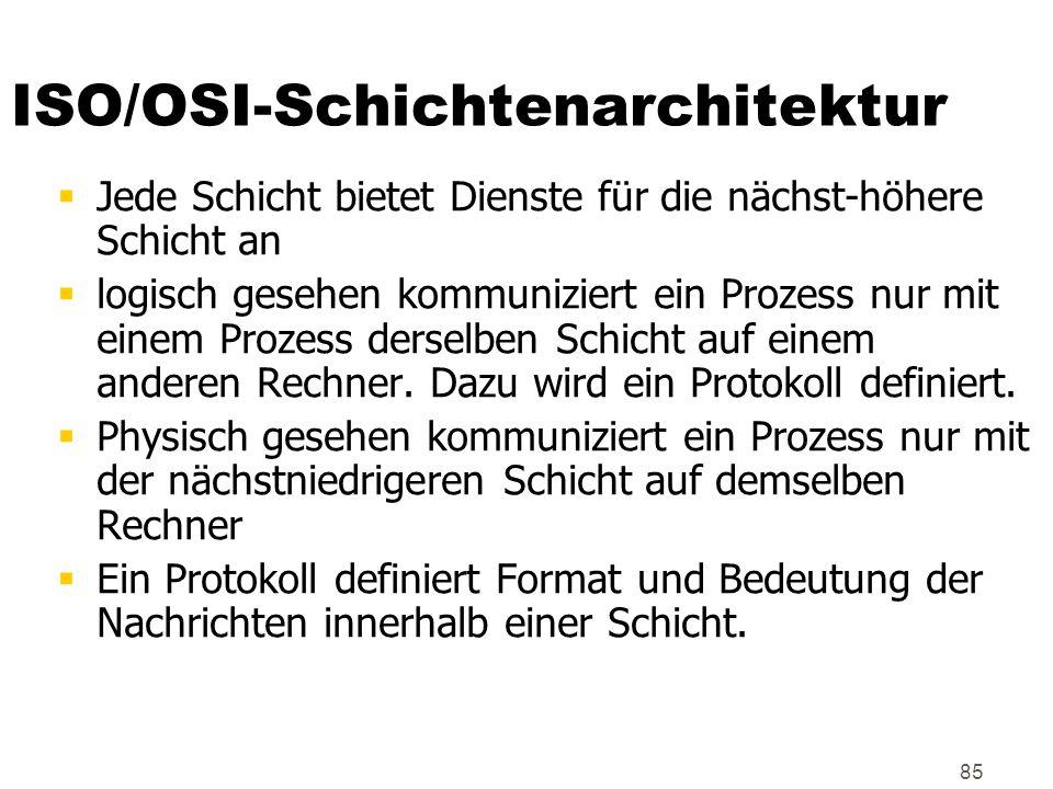 85 ISO/OSI-Schichtenarchitektur  Jede Schicht bietet Dienste für die nächst-höhere Schicht an  logisch gesehen kommuniziert ein Prozess nur mit eine