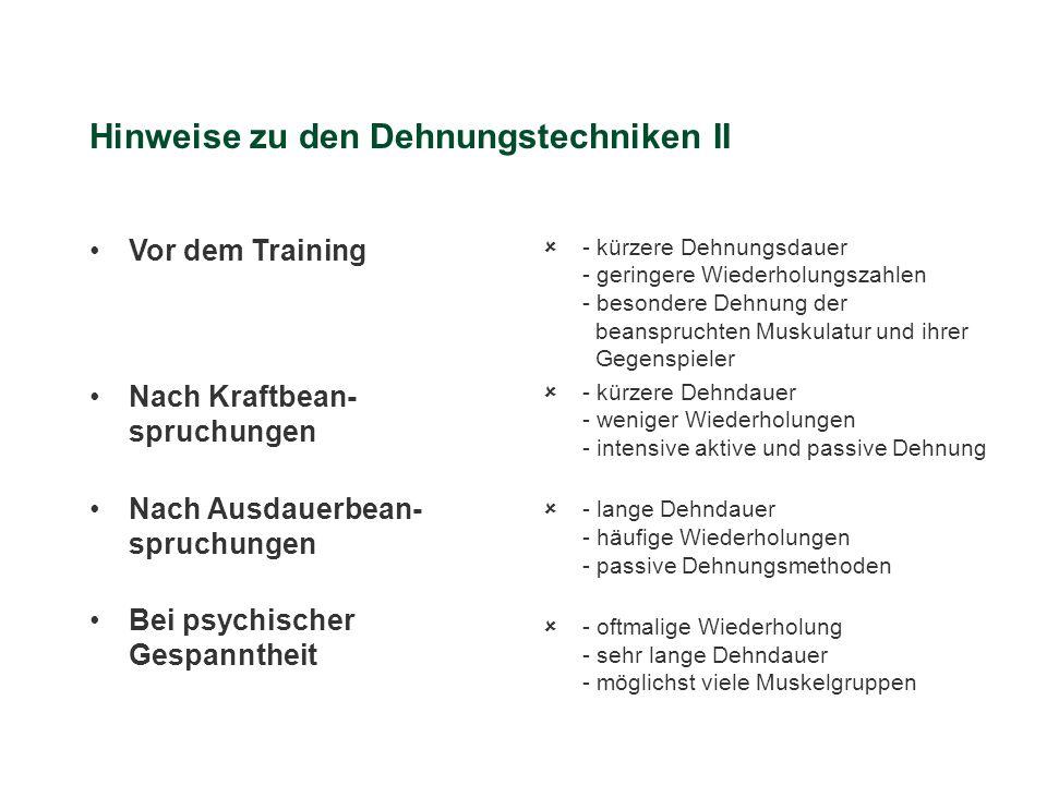 Hinweise zu den Dehnungstechniken II Vor dem Training Nach Kraftbean- spruchungen Nach Ausdauerbean- spruchungen Bei psychischer Gespanntheit û- kürze