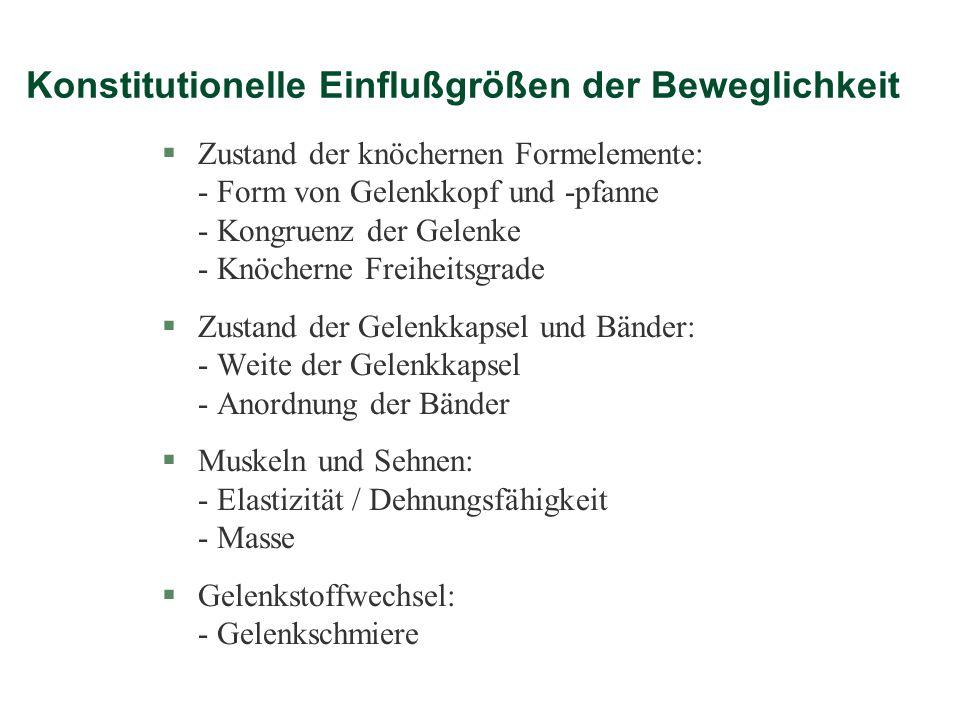 Konstitutionelle Einflußgrößen der Beweglichkeit §Zustand der knöchernen Formelemente: - Form von Gelenkkopf und -pfanne - Kongruenz der Gelenke - Knö