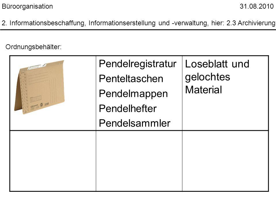 Büroorganisation 31.08.2010 2. Informationsbeschaffung, Informationserstellung und -verwaltung, hier: 2.3 Archivierung Ordnungsbehälter: Pendelregistr