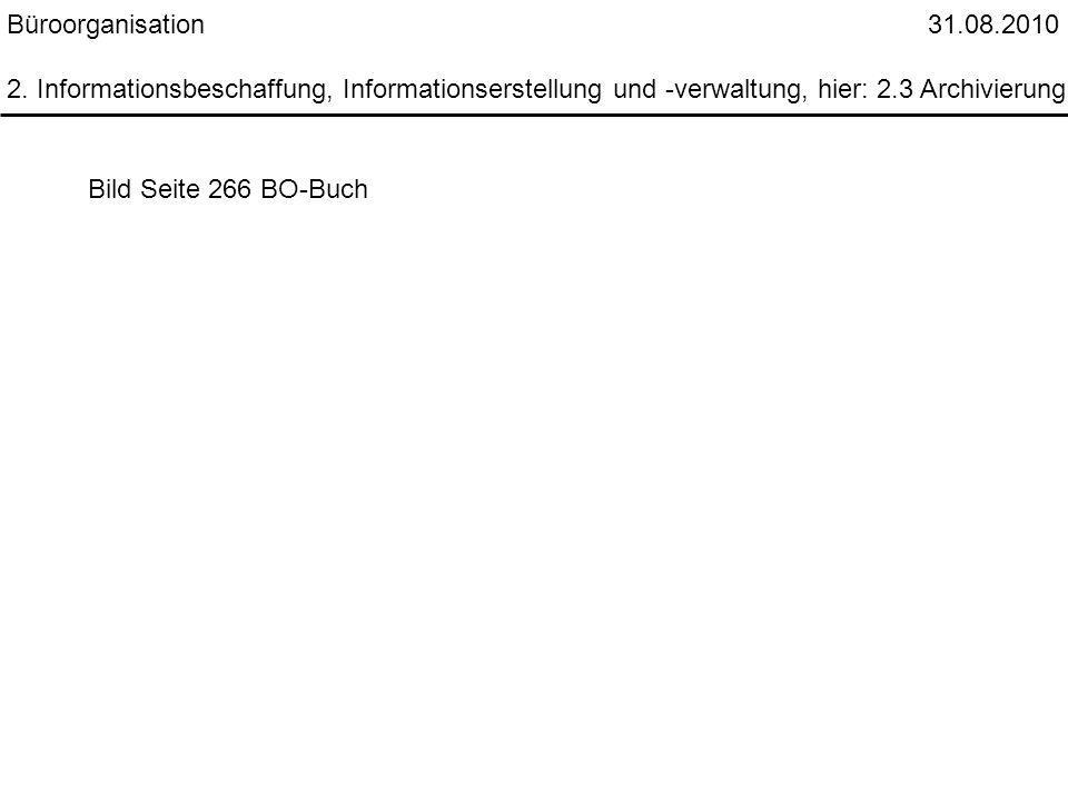 Büroorganisation 31.08.2010 2. Informationsbeschaffung, Informationserstellung und -verwaltung, hier: 2.3 Archivierung Bild Seite 266 BO-Buch