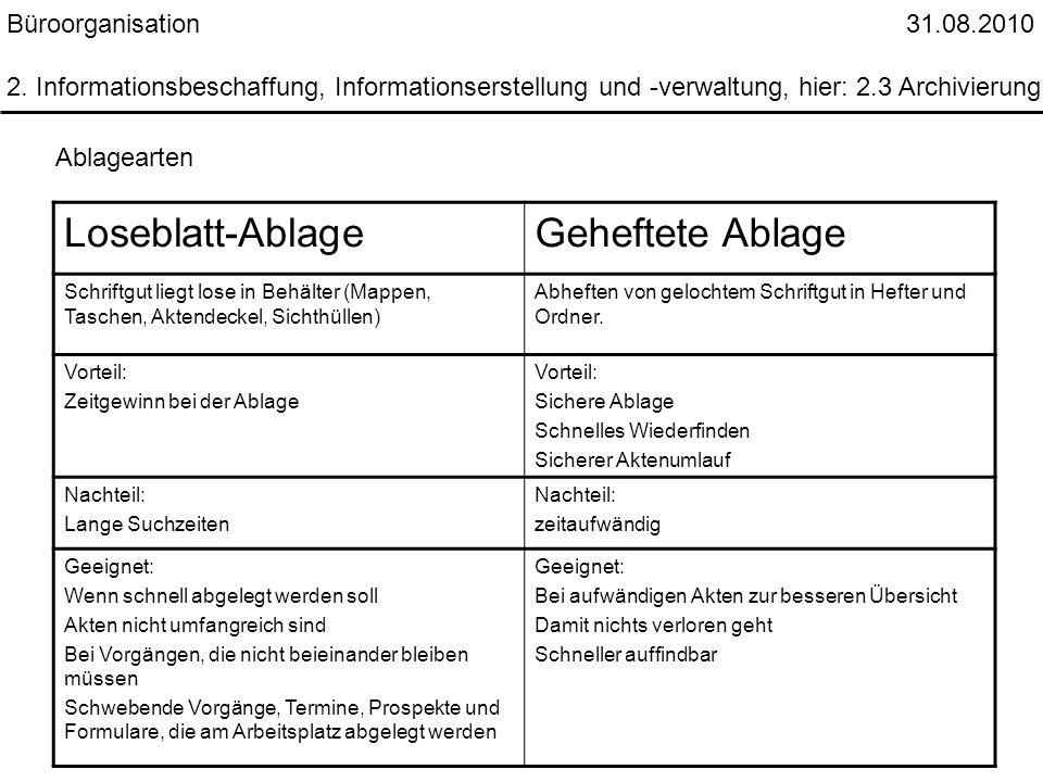 Büroorganisation 31.08.2010 2. Informationsbeschaffung, Informationserstellung und -verwaltung, hier: 2.3 Archivierung Ablagearten Loseblatt-AblageGeh