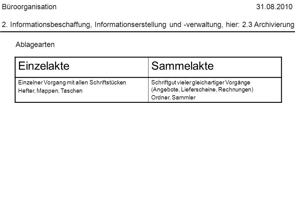 Büroorganisation 31.08.2010 2. Informationsbeschaffung, Informationserstellung und -verwaltung, hier: 2.3 Archivierung Ablagearten EinzelakteSammelakt