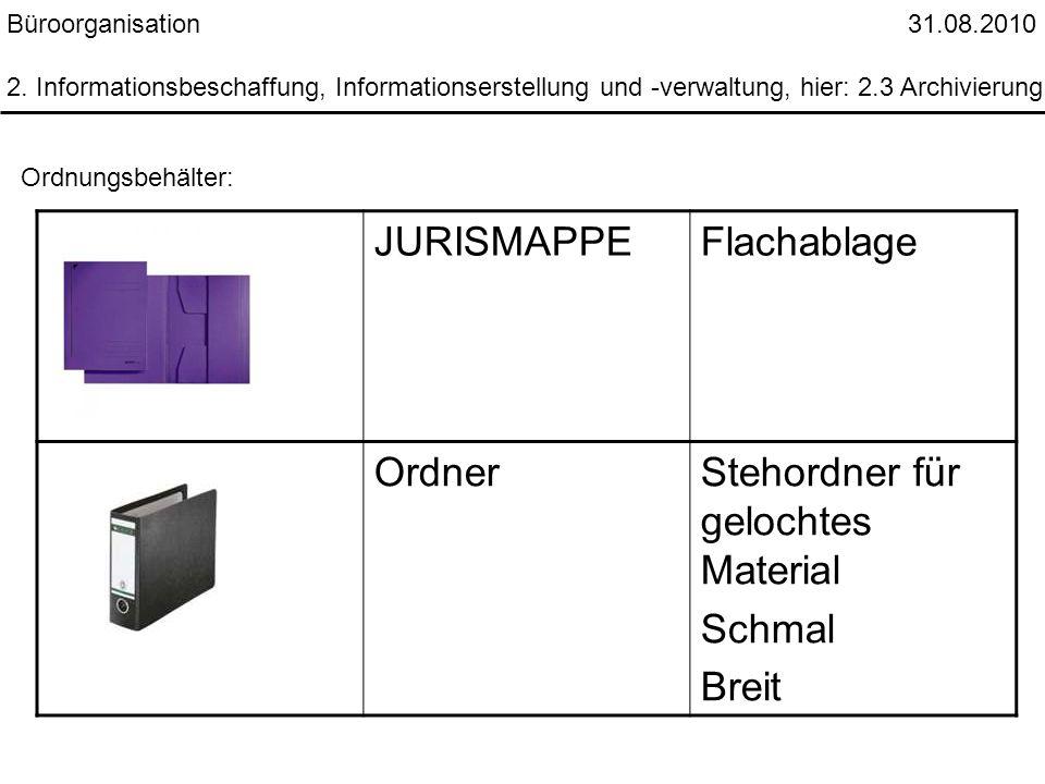 Büroorganisation 31.08.2010 2. Informationsbeschaffung, Informationserstellung und -verwaltung, hier: 2.3 Archivierung Ordnungsbehälter: JURISMAPPEFla