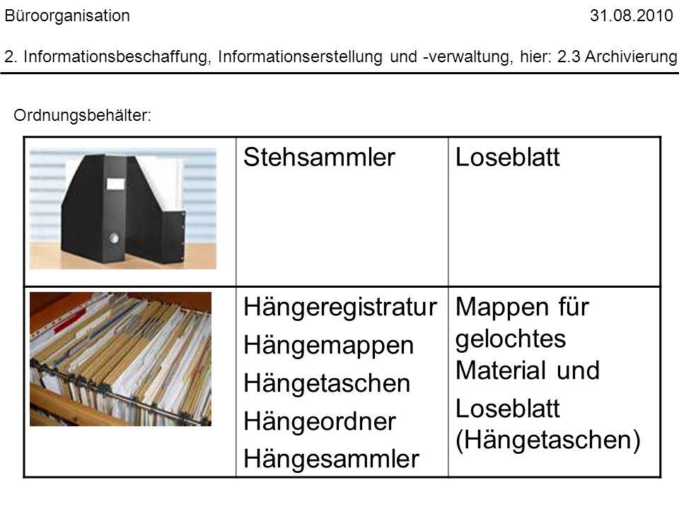 Büroorganisation 31.08.2010 2. Informationsbeschaffung, Informationserstellung und -verwaltung, hier: 2.3 Archivierung Ordnungsbehälter: StehsammlerLo