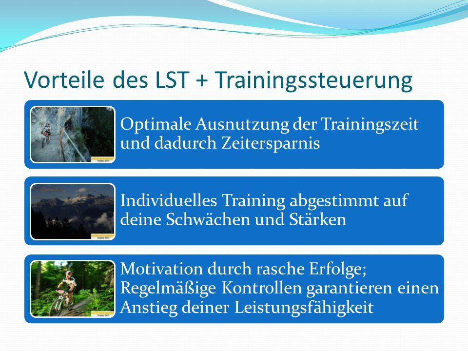 Vorteile des LST + Trainingssteuerung Optimale Ausnutzung der Trainingszeit und dadurch Zeitersparnis Individuelles Training abgestimmt auf deine Schw