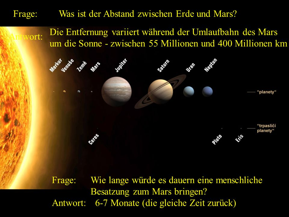 Der Abstand der Erde von der Sonne? Die mittlere Entfernung der Erde von der Sonne ist 149.600.000 km.
