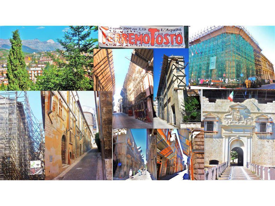 Die Abruzzen-Stadt L'Aquila Auf unserer Fahrt in die Abruzzen erinnern wir uns mit Schrecken an das Frühjahr 2009, als die Medien vom furchtbaren Erdbeben berichteten, welches die Stadt L'Aquila innert Minuten stark zerstörte.