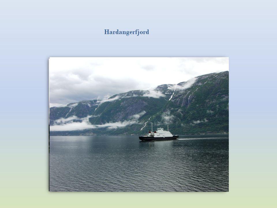 Der Hardangerfjord ist ca. 170 km lang. Die tiefste Stelle beträgt 725 m. Mit der Fähre von Bruravik nach Brimnes.