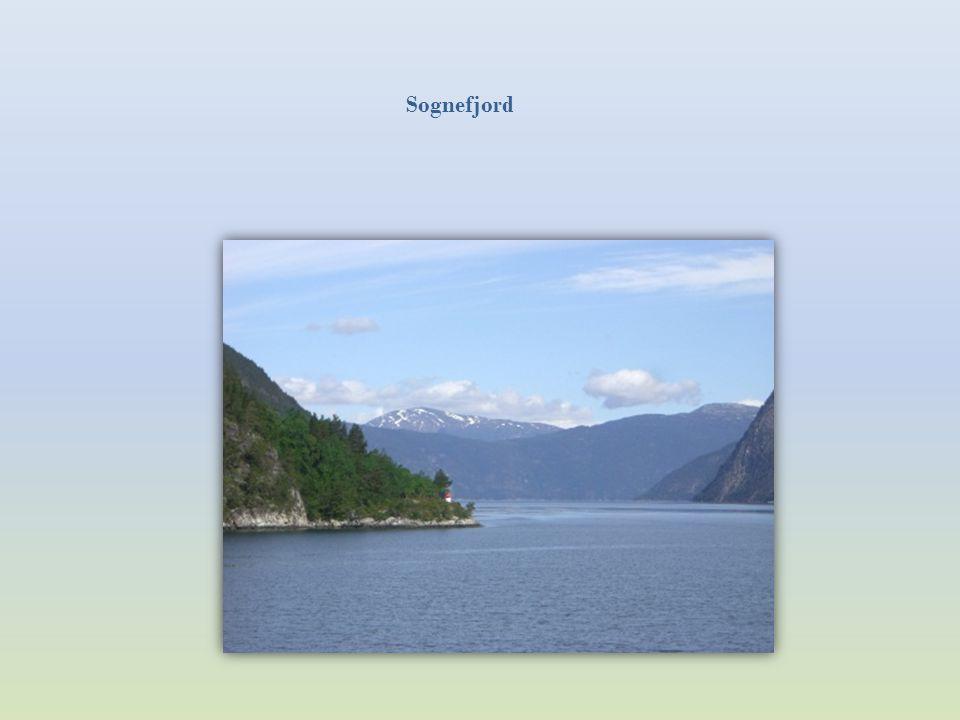 Mit der Fähre von Kaupanger nach Gudvangen Der Sognefjord ist der längste (204 km) und tiefste (1.308 m) Fjord Europas. Er hat viele kleinere Seitenar