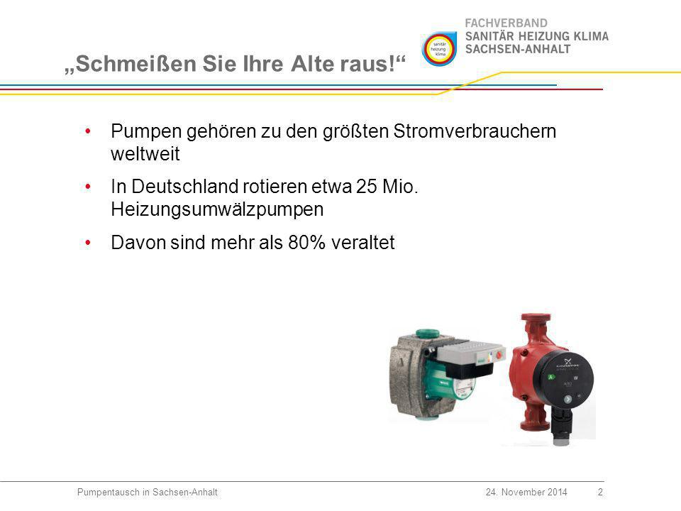 """""""Schmeißen Sie Ihre Alte raus! 3Pumpentausch in Sachsen-Anhalt24."""