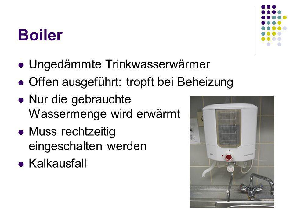 Boiler Ungedämmte Trinkwasserwärmer Offen ausgeführt: tropft bei Beheizung Nur die gebrauchte Wassermenge wird erwärmt Muss rechtzeitig eingeschalten