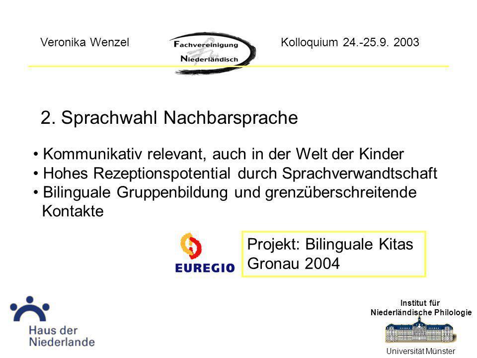 2. Sprachwahl Nachbarsprache Institut für Niederländische Philologie Universität Münster Kolloquium 24.-25.9. 2003Veronika Wenzel Kommunikativ relevan