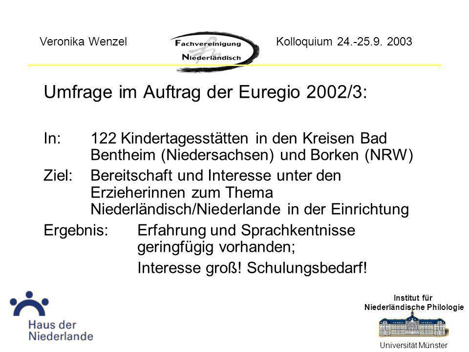 Umfrage im Auftrag der Euregio 2002/3: In:122 Kindertagesstätten in den Kreisen Bad Bentheim (Niedersachsen) und Borken (NRW) Ziel: Bereitschaft und Interesse unter den Erzieherinnen zum Thema Niederländisch/Niederlande in der Einrichtung Ergebnis:Erfahrung und Sprachkentnisse geringfügig vorhanden; Interesse groß.