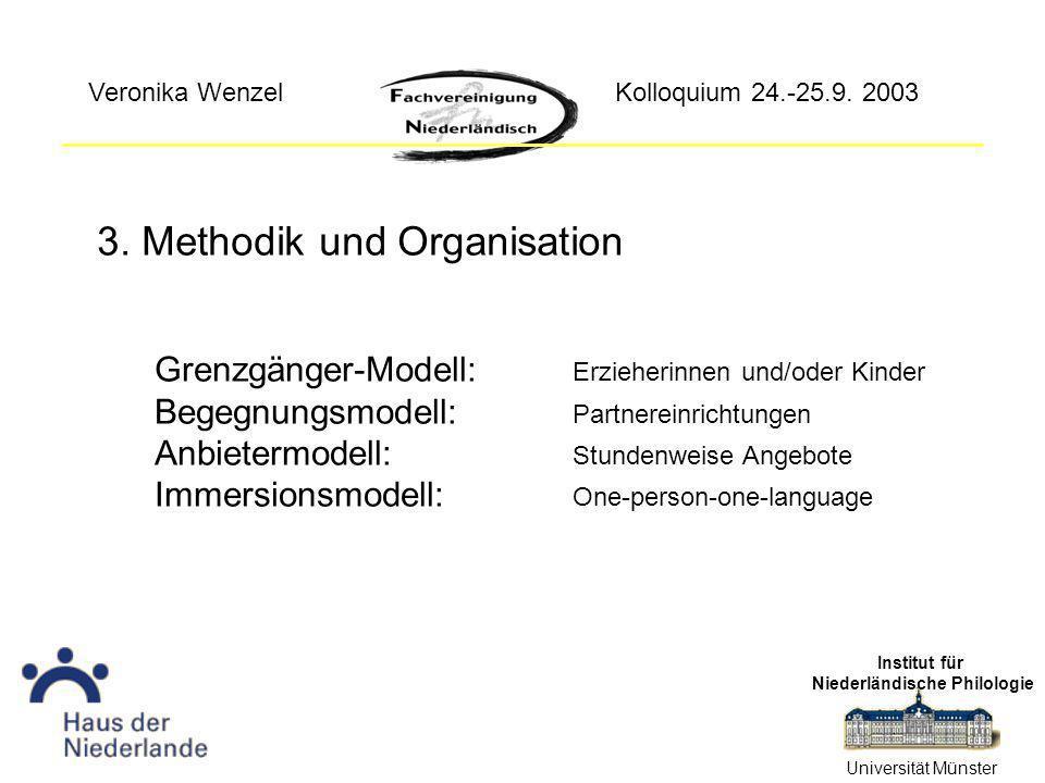 3. Methodik und Organisation Institut für Niederländische Philologie Universität Münster Kolloquium 24.-25.9. 2003Veronika Wenzel Grenzgänger-Modell: