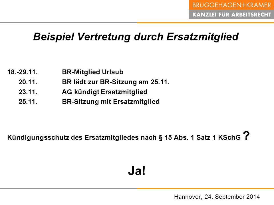 Hannover, den 07. November 2008 Beispiel Vertretung durch Ersatzmitglied 18.-29.11.BR-Mitglied Urlaub 20.11.BR lädt zur BR-Sitzung am 25.11. 23.11.AG