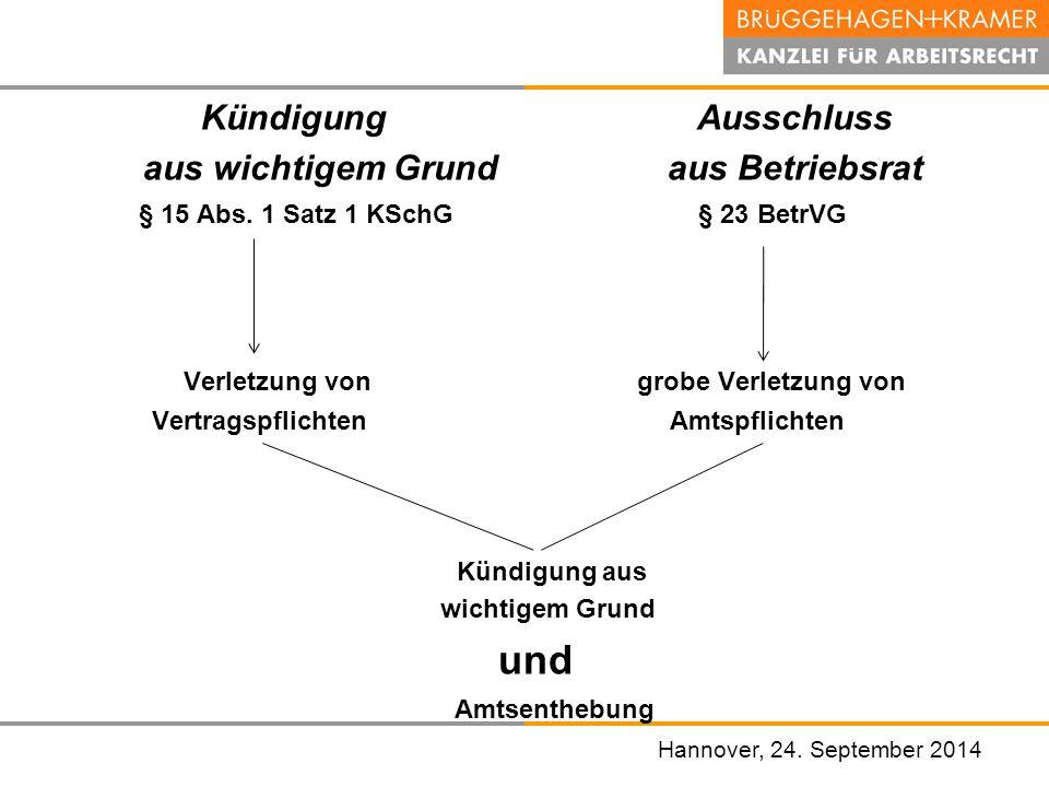 Hannover, den 07. November 2008 Kündigung Ausschluss aus wichtigem Grund aus Betriebsrat § 15 Abs. 1 Satz 1 KSchG § 23 BetrVG Verletzung von grobe Ver