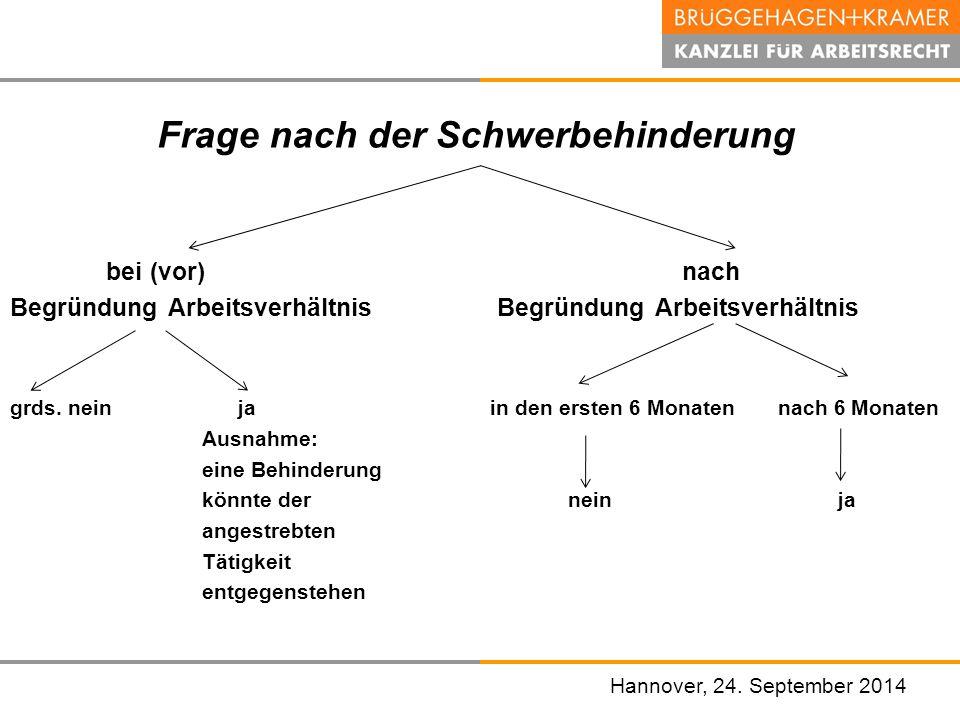 Hannover, den 07. November 2008 Frage nach der Schwerbehinderung bei (vor) nach Begründung Arbeitsverhältnis grds. nein ja in den ersten 6 Monaten nac