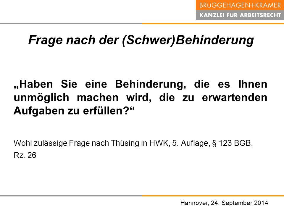 """Hannover, den 07. November 2008 Frage nach der (Schwer)Behinderung """"Haben Sie eine Behinderung, die es Ihnen unmöglich machen wird, die zu erwartenden"""