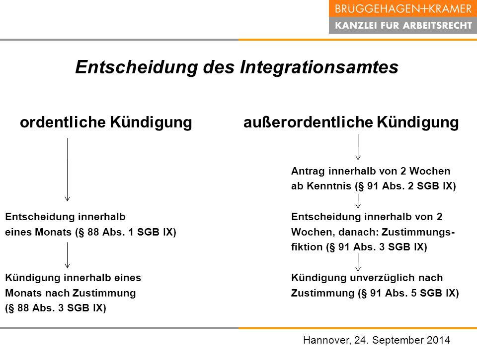 Hannover, den 07. November 2008 Entscheidung des Integrationsamtes ordentliche Kündigung außerordentliche Kündigung Antrag innerhalb von 2 Wochen ab K