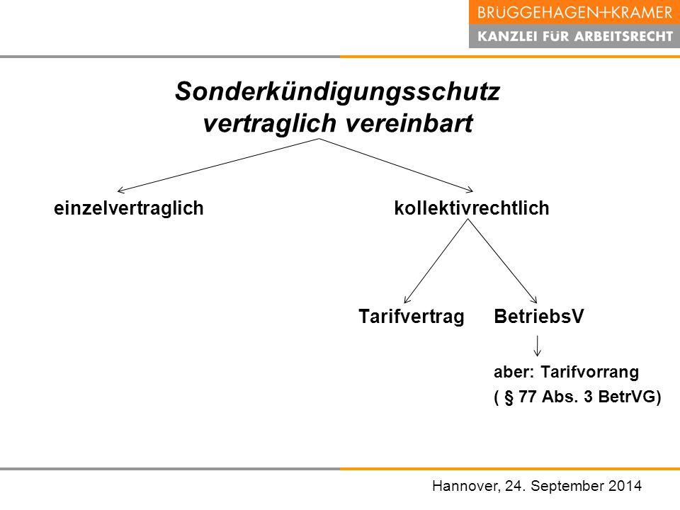 Hannover, den 07. November 2008 Sonderkündigungsschutz vertraglich vereinbart einzelvertraglich kollektivrechtlich Tarifvertrag BetriebsV aber: Tarifv