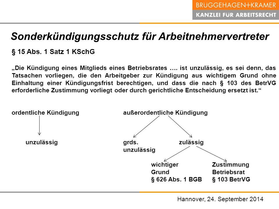 """Hannover, den 07. November 2008 Sonderkündigungsschutz für Arbeitnehmervertreter § 15 Abs. 1 Satz 1 KSchG """"Die Kündigung eines Mitglieds eines Betrieb"""