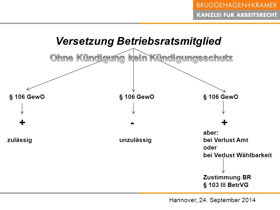 Hannover, den 07. November 2008 Versetzung Betriebsratsmitglied Hannover, 24. September 2014 § 106 GewO§ 106 GewO § 106 GewO + - + aber: zulässigunzul