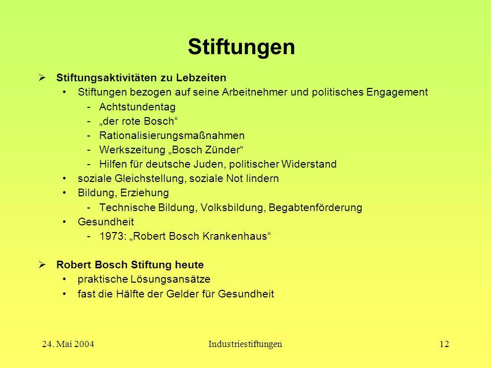 """24. Mai 2004Industriestiftungen11 Robert Bosch  Menschenbild Humanismus => politische und soziale Verantwortung """"Immer soll nach der Verbesserung des"""