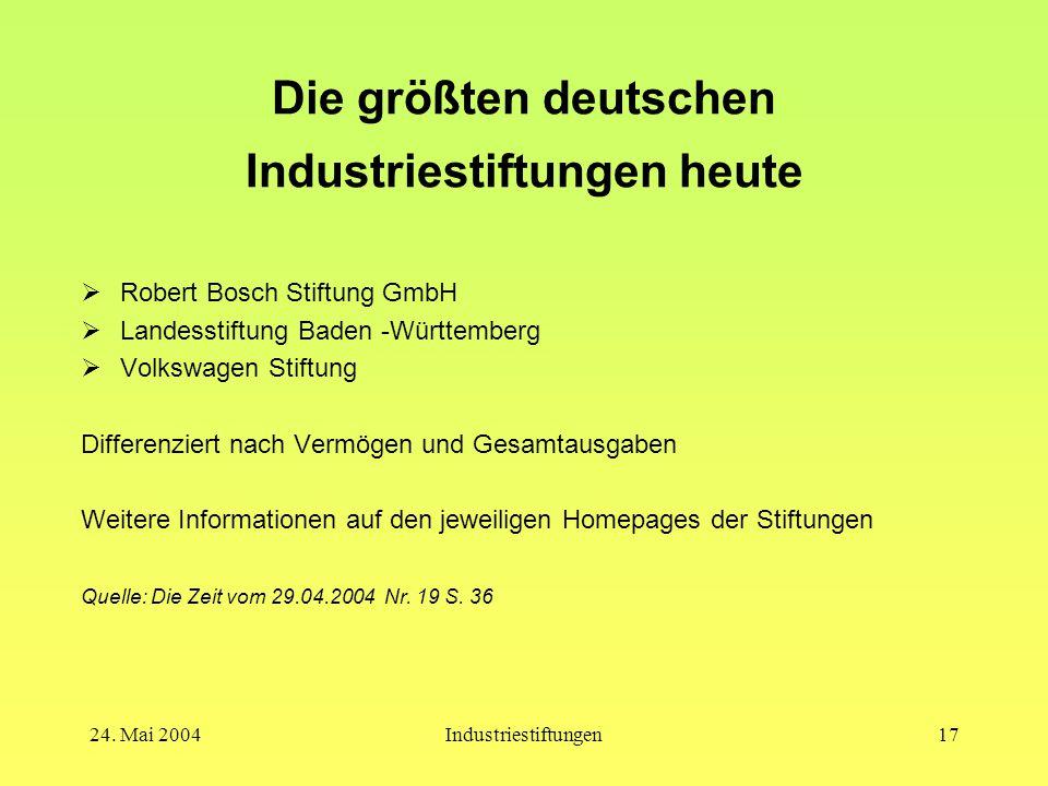 24. Mai 2004Industriestiftungen16 Stiftungsrecht  Rechtliche Grundlagen Bürgerliches Gesetzbuch, §§ 80 – 88 regelt u.a.: -die staatlichen Zuständigke