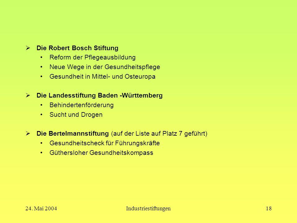 24. Mai 2004Industriestiftungen17 Die größten deutschen Industriestiftungen heute  Robert Bosch Stiftung GmbH  Landesstiftung Baden -Württemberg  V