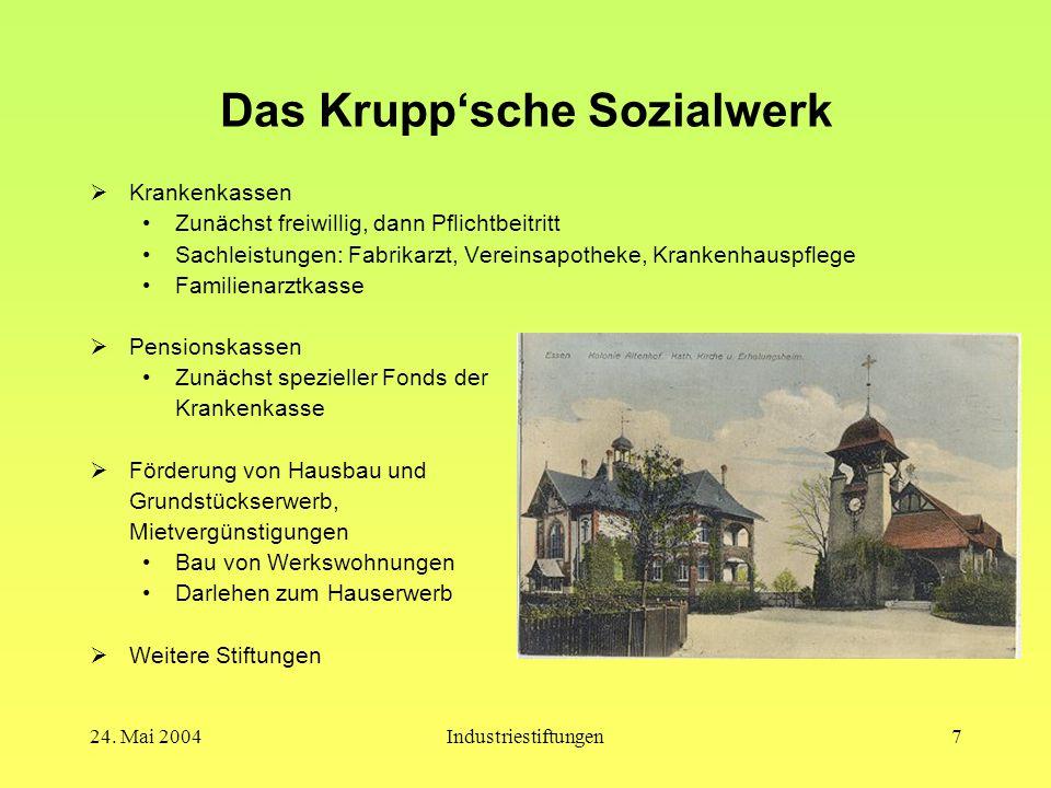 24. Mai 2004Industriestiftungen6 Firmen- und Familiengeschichte  1811:Gründung der Gussstahlfabrik durch Friedrich Krupp  1826:Tod von F. Krupp, Lei