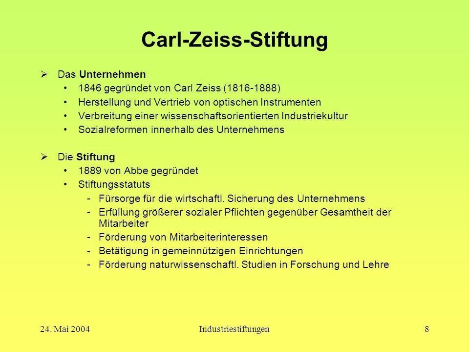 24. Mai 2004Industriestiftungen7 Das Krupp'sche Sozialwerk  Krankenkassen Zunächst freiwillig, dann Pflichtbeitritt Sachleistungen: Fabrikarzt, Verei