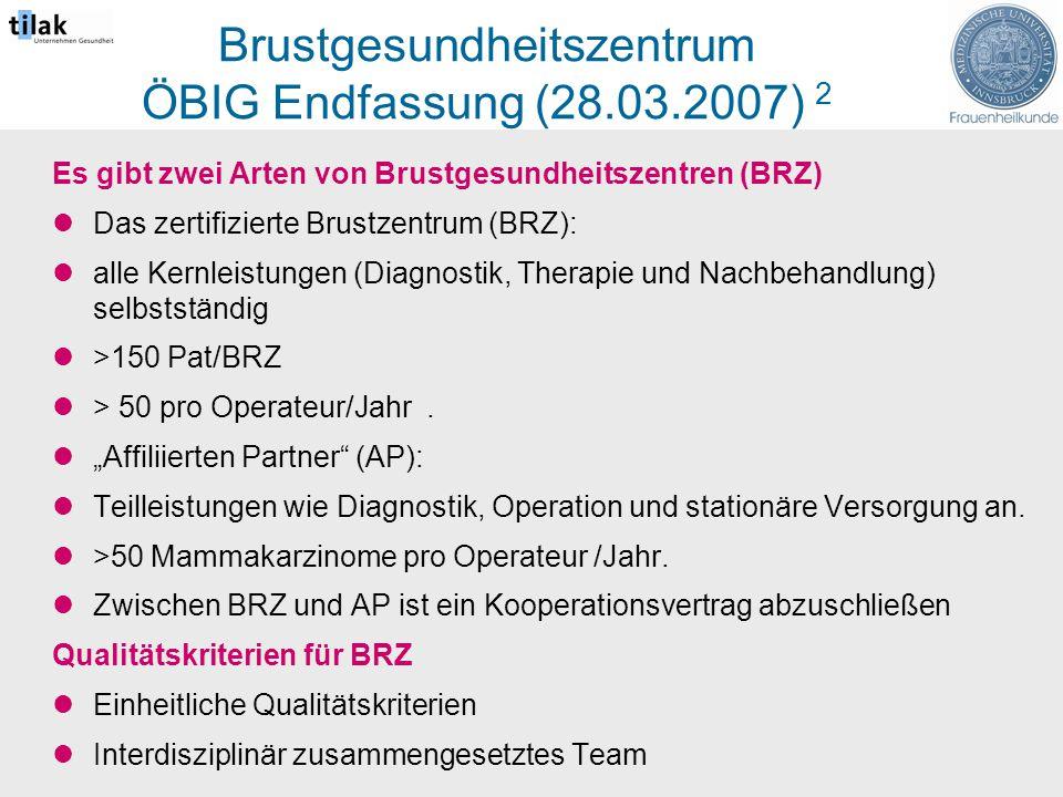 Brustgesundheitszentrum ÖBIG Endfassung (28.03.2007) 2 Es gibt zwei Arten von Brustgesundheitszentren (BRZ) Das zertifizierte Brustzentrum (BRZ): alle Kernleistungen (Diagnostik, Therapie und Nachbehandlung) selbstständig >150 Pat/BRZ > 50 pro Operateur/Jahr.