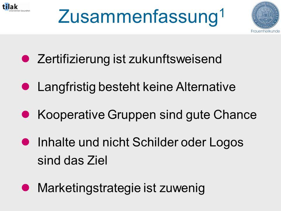 Zusammenfassung 1 Zertifizierung ist zukunftsweisend Langfristig besteht keine Alternative Kooperative Gruppen sind gute Chance Inhalte und nicht Schilder oder Logos sind das Ziel Marketingstrategie ist zuwenig