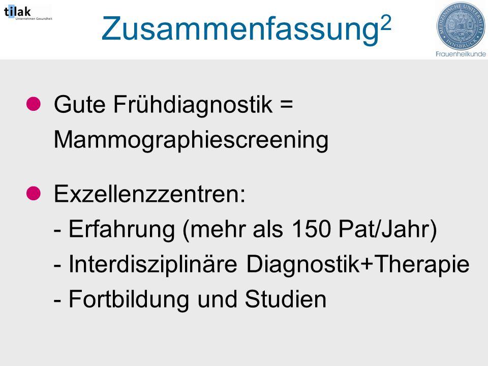 Zusammenfassung 2 Gute Frühdiagnostik = Mammographiescreening Exzellenzzentren: - Erfahrung (mehr als 150 Pat/Jahr) - Interdisziplinäre Diagnostik+Therapie - Fortbildung und Studien