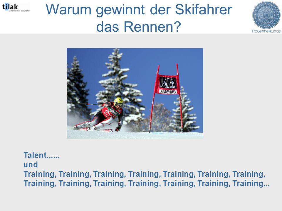 Warum gewinnt der Skifahrer das Rennen. Talent......
