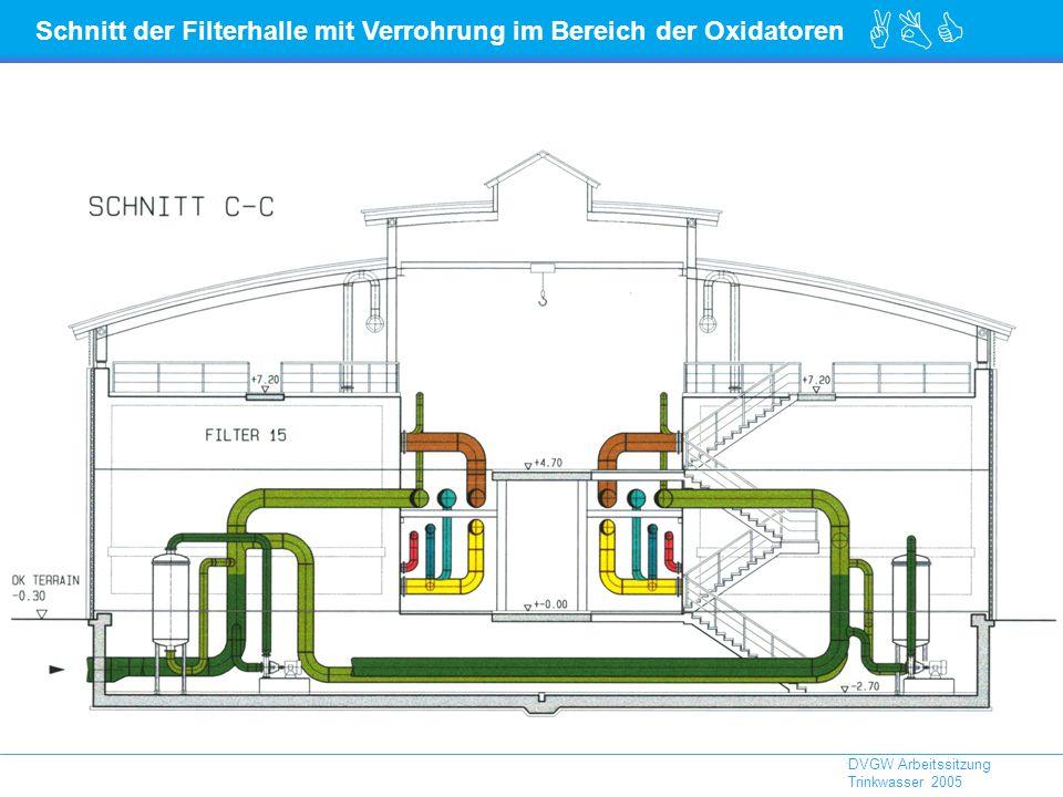 ABC DVGW Arbeitssitzung Trinkwasser 2005 Schnitt der Filterhalle mit Verrohrung im Bereich der Oxidatoren