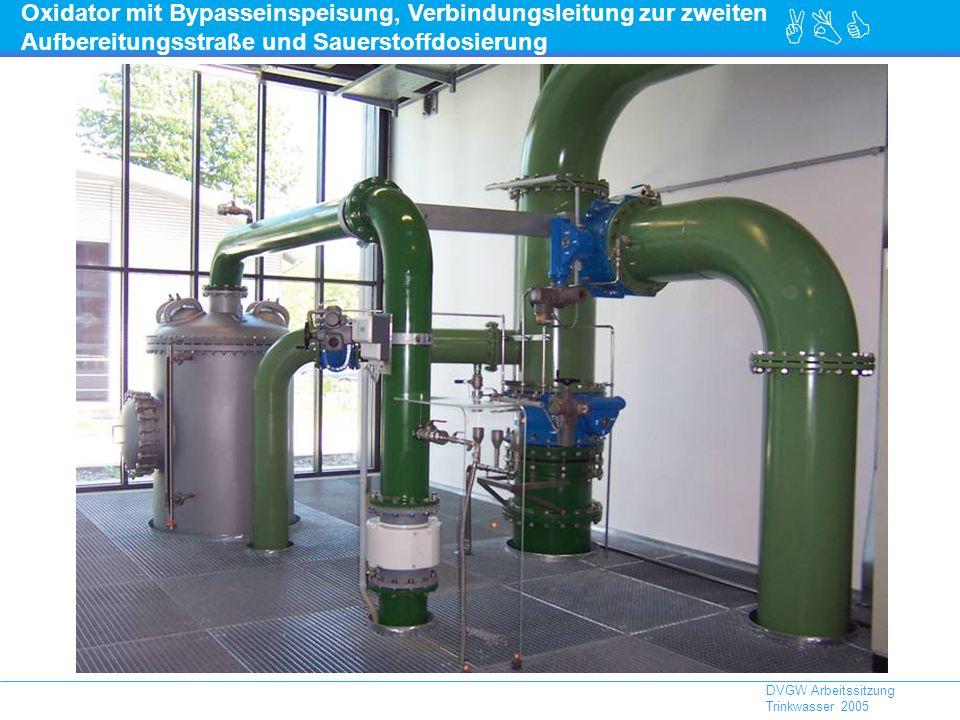 ABC DVGW Arbeitssitzung Trinkwasser 2005 Oxidator mit Bypasseinspeisung, Verbindungsleitung zur zweiten Aufbereitungsstraße und Sauerstoffdosierung