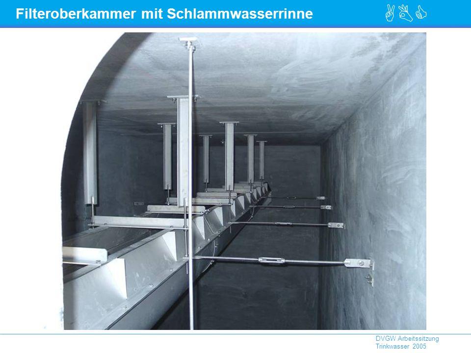 ABC DVGW Arbeitssitzung Trinkwasser 2005 Filteroberkammer mit Schlammwasserrinne