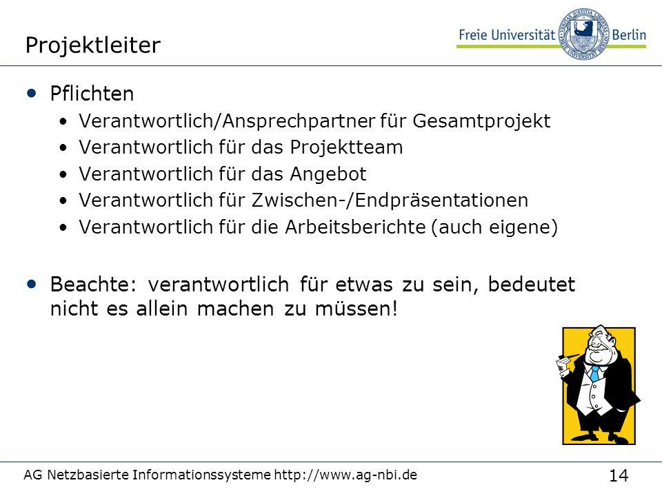 14 AG Netzbasierte Informationssysteme http://www.ag-nbi.de Projektleiter Pflichten Verantwortlich/Ansprechpartner für Gesamtprojekt Verantwortlich fü