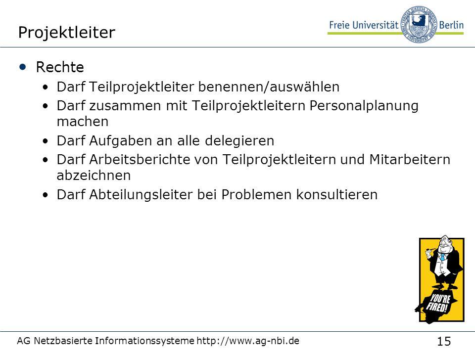 15 AG Netzbasierte Informationssysteme http://www.ag-nbi.de Projektleiter Rechte Darf Teilprojektleiter benennen/auswählen Darf zusammen mit Teilproje