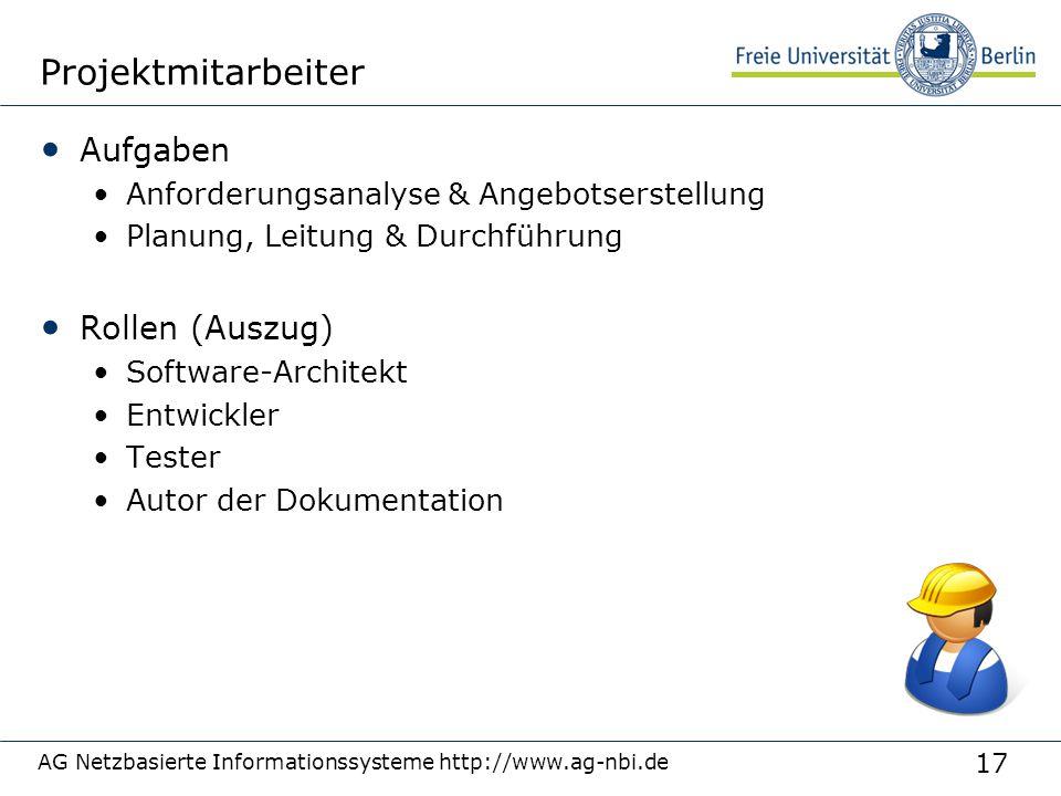 17 AG Netzbasierte Informationssysteme http://www.ag-nbi.de Projektmitarbeiter Aufgaben Anforderungsanalyse & Angebotserstellung Planung, Leitung & Du