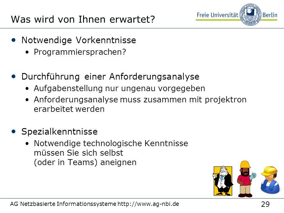 29 AG Netzbasierte Informationssysteme http://www.ag-nbi.de Was wird von Ihnen erwartet? Notwendige Vorkenntnisse Programmiersprachen? Durchführung ei