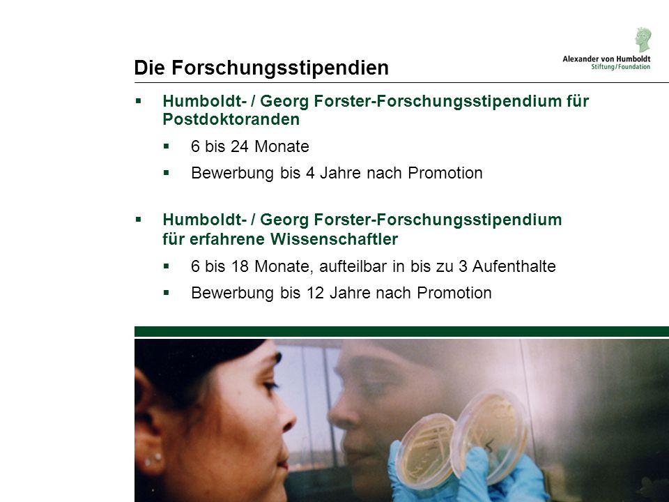 Die Forschungsstipendien  Humboldt- / Georg Forster-Forschungsstipendium für Postdoktoranden  6 bis 24 Monate  Bewerbung bis 4 Jahre nach Promotion