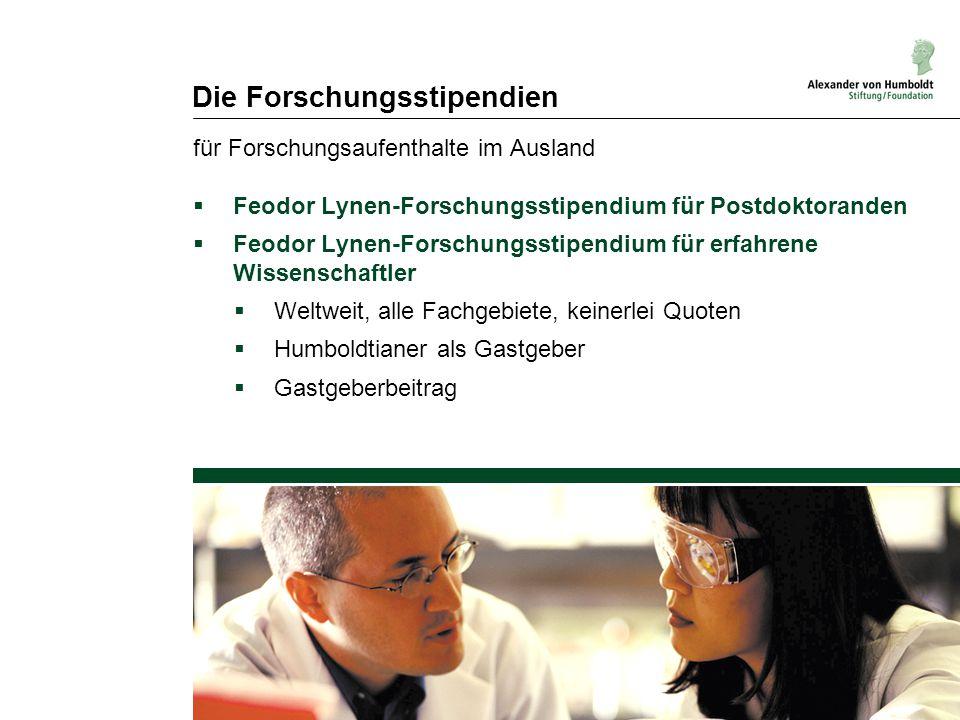 Die Forschungsstipendien für Forschungsaufenthalte im Ausland  Feodor Lynen-Forschungsstipendium für Postdoktoranden  Feodor Lynen-Forschungsstipend
