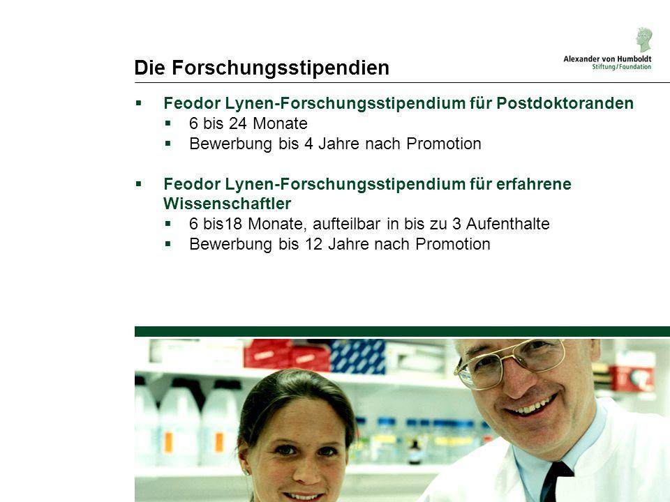 Die Forschungsstipendien  Feodor Lynen-Forschungsstipendium für Postdoktoranden  6 bis 24 Monate  Bewerbung bis 4 Jahre nach Promotion  Feodor Lyn