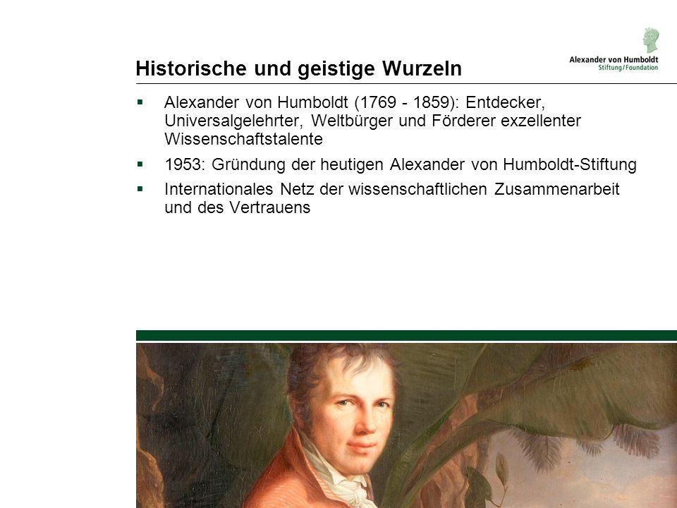 Historische und geistige Wurzeln  Alexander von Humboldt (1769 - 1859): Entdecker, Universalgelehrter, Weltbürger und Förderer exzellenter Wissenscha
