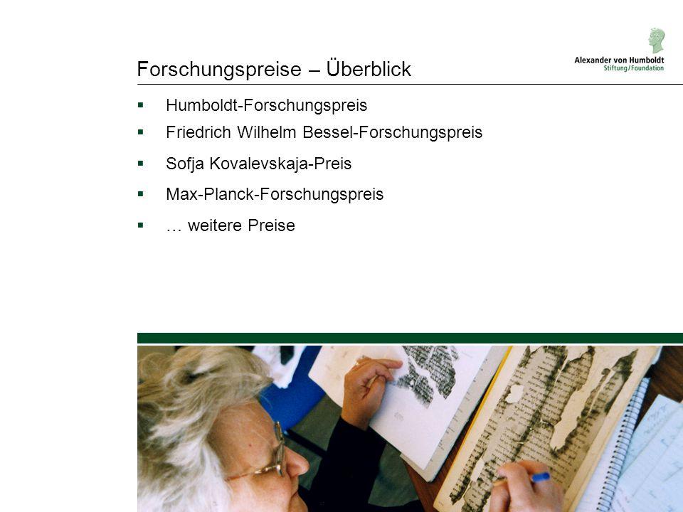 Forschungspreise – Überblick  Humboldt-Forschungspreis  Friedrich Wilhelm Bessel-Forschungspreis  Sofja Kovalevskaja-Preis  Max-Planck-Forschungsp
