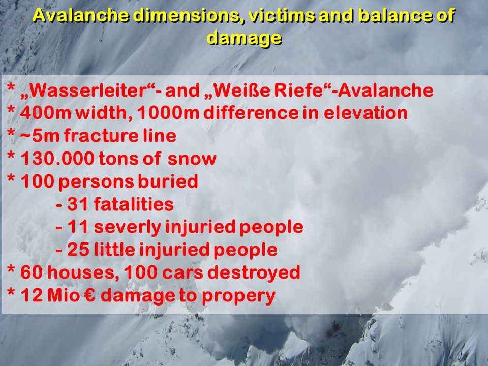 "Avalanche dimensions, victims and balance of damage * ""Wasserleiter""- and ""Weiße Riefe""-Avalanche * 400m width, 1000m difference in elevation * ~5m fr"