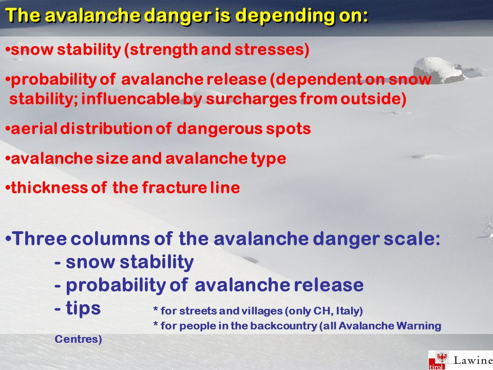 snow stability (strength and stresses) probability of avalanche release (dependent on snow stability; influencable by surcharges from outside) aerial